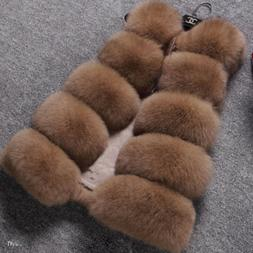 Elegant Winter Womens Solid Faux Fox Fur Vests Casual Thick