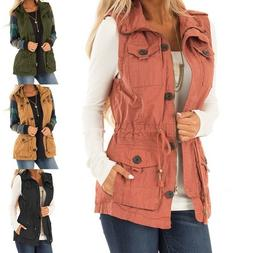 Fashion Vest Coat Jacket Women Ladies Casual Sleeveless Zipp