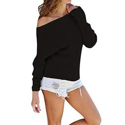 Fashion Women Knitted Solid Long Sleeve Off Shoulder T-Shirt