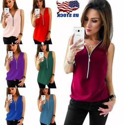 Fashion Women Summer Vest Top Sleeveless Chiffon Blouse Zipp