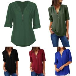 Fashion Women V-Neck Zipper Chiffon Tops Casual  T-Shirt Plu