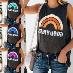 "Fashion Womens Summer Casual Tank Top ""Rainbow GOOD VIBES"" S"