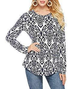Sarin Mathews Womens Floral Printed Long Sleeve Round Neck L