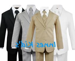 Formal Kids Toddler Boys Suit 5 pieces Set with Vest and Tie