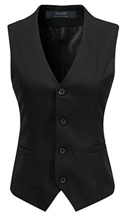 Vocni Women's Fully Lined 4 Button V-Neck Economy Dressy Sui