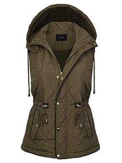 BOHENY Womens Fur Lined Lightweight Zip Up Quilted Vest with