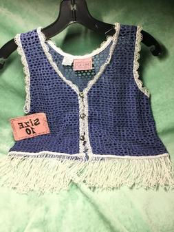 GIRLS SIZE 10 Blue and White Vest  FRINGES STYLISH & CUTE !