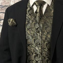 Gold / Black Men Paisley Tuxedo Suit Dress Vest Waistcoat &