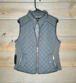 Active USA Green olive quilted Womens Large Vest