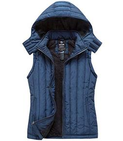 Wantdo Women's Hooded Fleece Vest Thick Quilted Padded Warm