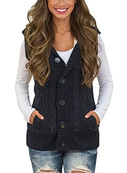 Sidefeel Women Hooded Sweater Vest Knit Cardigan Outerwear C