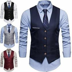 HOT Formal Men's Dress Slim Fit Suit Vest V-neck Waistcoat B