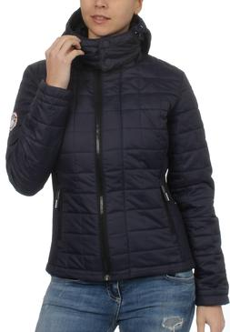 Superdry Jacket Ladies Hooded Box Quilt Fuji Sports Code Nav