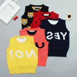 Kids Sleeveless Knitted Vest Thick Warm Knit Sweater For Aut