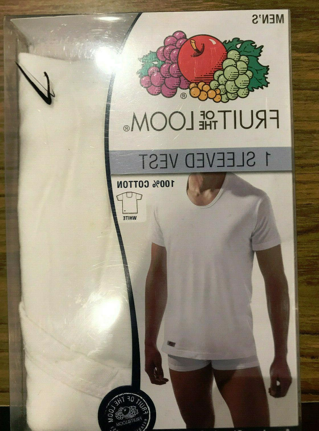 Fruit of the Loom 3-Pack Sleeved Vest White SHIPPING Cotton