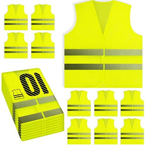PeerBasics, 10 Pack, Yellow Reflective Safety Vest, Silver S