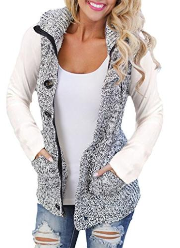 hooded sweater vest knit cardigan