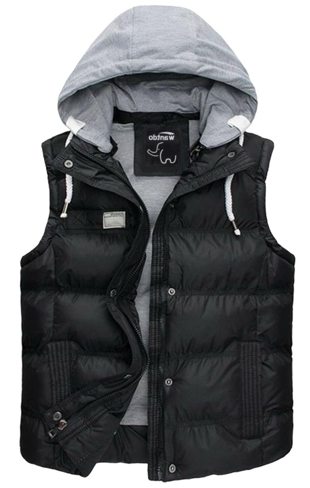 Wantdo Men's Winter Puffer Vest Removable Hooded Quilted War