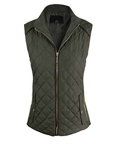 basic solid quilted padding jacket