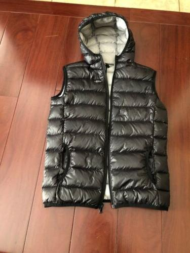 black down filled packable vest with hood