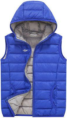 Wantdo Boy's and Girl's Packable Puffer Down Vest Hooded Lig