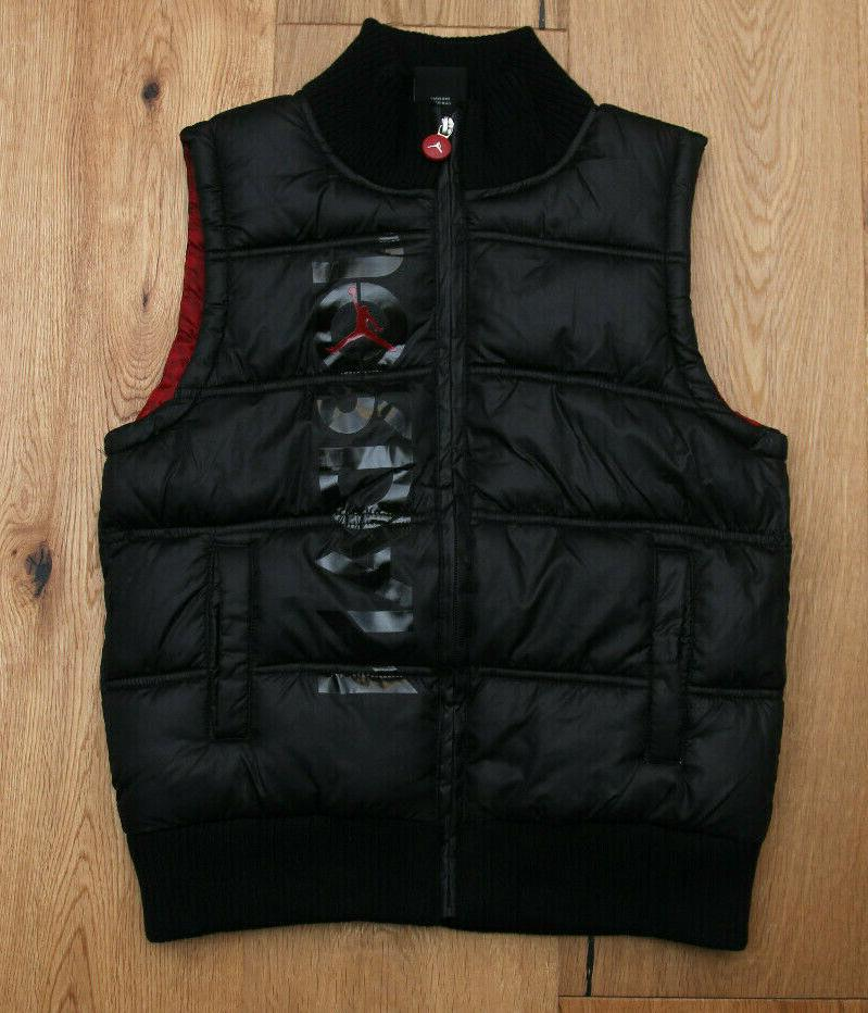 boys puffer vest black and red jumpman