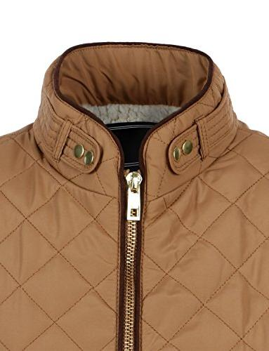 LE3NO Womens Casual Quilted Vest Camel