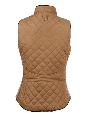 LE3NO Womens Casual Quilted Zip Vest with