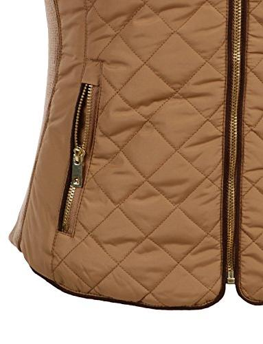 LE3NO Quilted Zip Vest with Pockets Camel