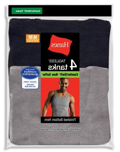 Hanes Comfort Tanks 4-Pack, Black, Grey, or