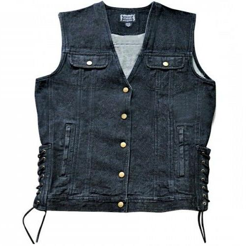 denim motorcycle vests black or blue