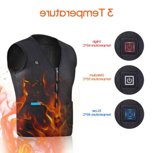 Electric Vest Jacket USB Thermal Warm Heating Pad Clothes