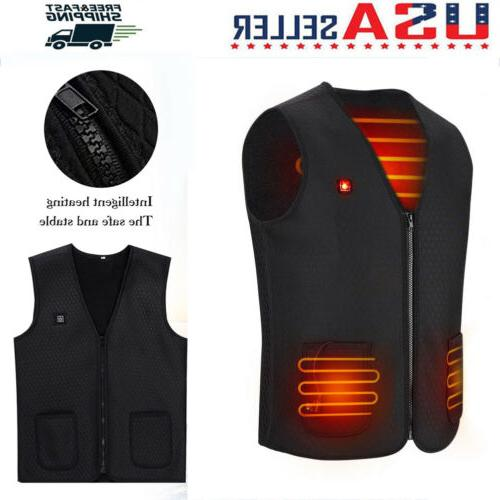 electric usb winter heated warm vest men