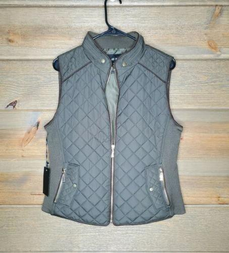 green olive quilted womens large vest