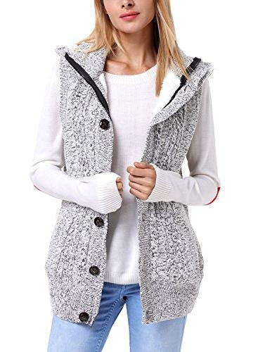 Sidefeel Hooded Sweater Vest Knit Cardigan Coat Grey
