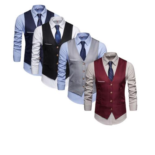 HOT Formal Slim Fit Suit Vest V-neck Business Coat
