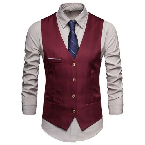 HOT Formal Men's Dress Slim Fit Suit V-neck Business Casual Coat