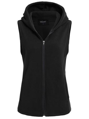 jayjay women ultra soft fleece sleeveless hoodie