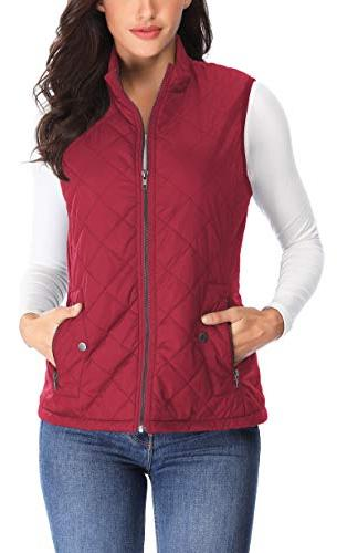 MISS MOLY Quilted Padded Vest Stand Collar Gilet Quilted,Red,X-Large