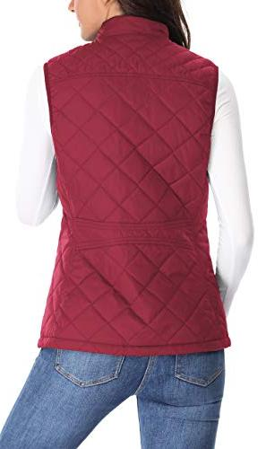 MISS MOLY Quilted Collar Zip Gilet Quilted,Red,X-Large