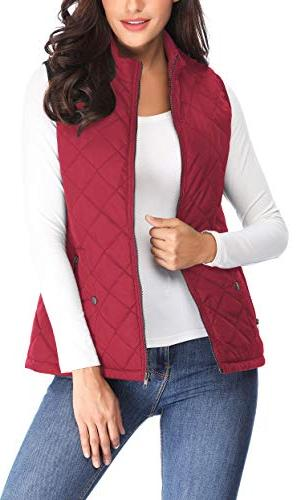 MISS Quilted Collar Up Front Gilet Quilted,Red,X-Large