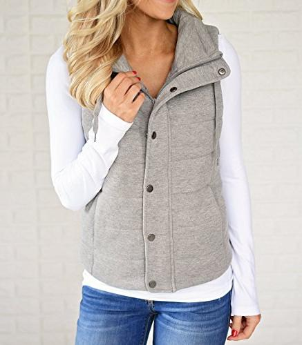 Valphsio Quilted Padded Vest Zip Up Quilted