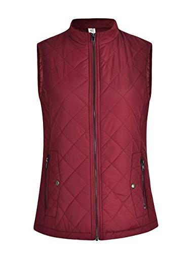 MISS Womens Quilted Zip Stand Collar Padded Sleeveless with Pockets S