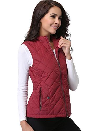 MISS Quilted Stand Sleeveless Jackets Zipper Pockets Maroon