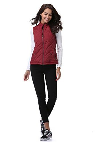 MISS Quilted Vest Stand Padded Gilet Pockets