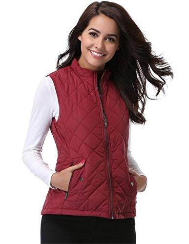 MISS MOLY Womens Quilted Zip Sleeveless Jackets with Pockets