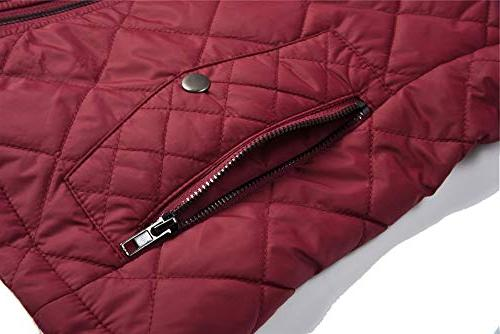 MISS MOLY Quilted Zip up Stand Pockets Maroon S