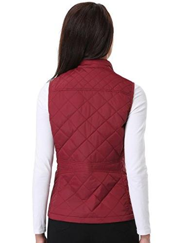 MISS Quilted Vest Zip Stand Collar Gilet Sleeveless