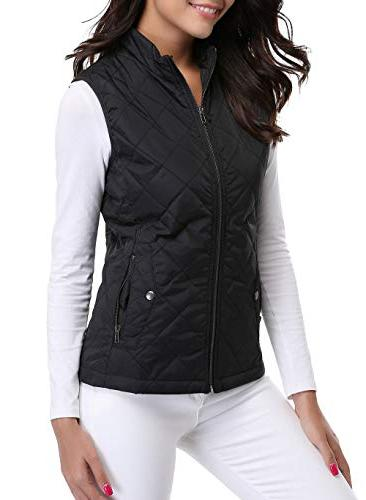MISS MOLY Women's Zip Stand Warm Quilted Gilets Puffer Outerwear 2 Pockets