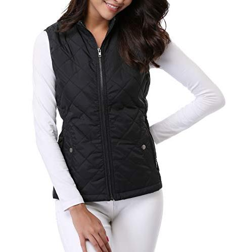 MISS Zip Stand Warm Quilted Puffer Vest Outerwear 2 Pockets Black